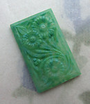 2 pcs. glass green floral flower relief rectangle flat back cabochons 16x10mm - f6652