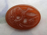 glass carnelian pierced relief bird in flight flat back cabochon 18x13mm - f6653