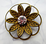 lacquered brass flower brooch pin w MCC machine cut crystal rhinestone center - j6552