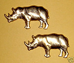 4 pcs. raw brass rhinoceros stampings - f584