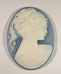 2 pcs. resin blue/ivory cameo flat back cabochons 40x30mm - f1606