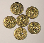 18 pcs. brass ornate disk stampings - f1641