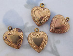 12 pcs. raw brass etched two sided heart charms 12mm - f2880