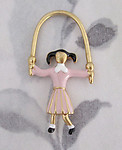 2 pcs. gold tone cold enamel pink jumprope girl charms 40x21mm - f2928