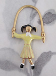 2 pcs. gold tone cold enamel chartreuse green jumprope girl charms 40x21mm - f2929
