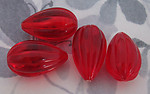 12 pcs. fluted ridged red tear pear plastic beads 26x15mm - f2950