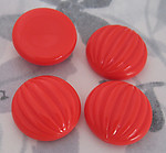 12 pcs. fluted ridged coral red orange plastic flat back cabochons 20mm - f2957