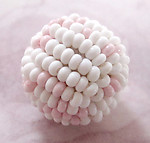 1 pc. glass pink & white seed beaded ball 15mm - f2990