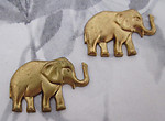 4 pcs. raw brass elephant stampings 27x18mm - f3427