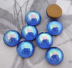 32 pcs. glass blue AB foiled flat back cabochons 10mm - f3438
