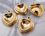 12 pcs. gold tone plated 9x9mm heart rhinestone charm settings - f3455