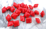 72 pcs. glass cherry red square rhinestones 6mm - f3475