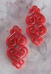 6 pcs. red plastic filigree connector charms 27x13mm - r112