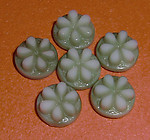 15 pcs. glass green flower relief cabochons 7mm - f1781
