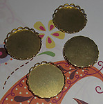 12 pcs. brass lace edge cabochon settings 18mm - f1945