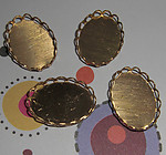 12 pcs. raw brass lace edge cabochon settings 18x13mm - f1948