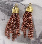 6 pcs. small raw brass and copper coated tassels 28mm long - f4236