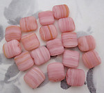 18 pcs. glass pink stripe beads 12x10x5mm - f4252