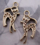 4 pcs. gold tone two sided cat charms w settings for rhinestones 27x14x2.5mm - f4295
