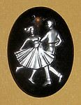 glass reverse painted dancers intaglio cabochon 30x22mm - f1723