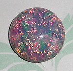 2 pcs. glass fire opal cabochons 15mm - f2082