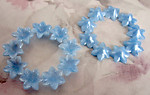 4 pcs. vintage blue flower rings w rhinestone settings 43mm - f2559