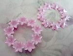 4 pcs. vintage pink flower rings w rhinestone settings 43mm - f2560