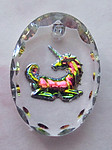 glass faceted unicorn reverse painted intaglio charm 14x10mm - f2570