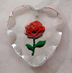 glass faceted rose heart reverse painted intaglio pendant 25x23mm - f2571