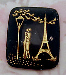 glass reverse painted intaglio lovers in Paris cabochon 27x22mm - f2578
