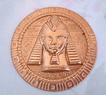 raw brass Egyptian revival amulet medallion stamping 61mm - f4496