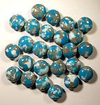 25 pcs. turquoise matrix plastic lentil beads 10x6mm - f1702