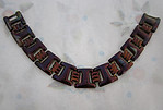 raw brass necklace front flat link chain w iridescent patina on one side - f4411