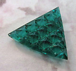 vintage glass multi faceted green triangle stone 23mm - f2554