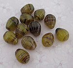 12 pcs. glass brown ridged and striped beads 12x9mm - f2693