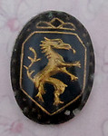 glass reverse painted intaglio rampant dragon cabochon 18x13mm - f2707