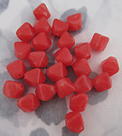 25 pcs. Czech glass red cubed bicone hurricane beads 8x6mm - f2712