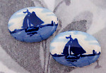 4 pcs. hand glazed porcelain sailboat flat back cabochons 18x13mm - f2782