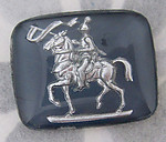 glass reverse painted intaglio knight on horseback cabochon 28x23mm - f2783
