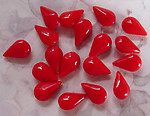 50 pcs. glass cherry red opaque pear rhinestones 9x6mm - f3120