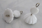 4 pcs. glass white flower & silver tone connector bead charms 16x14mm - f3160