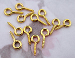 36 pcs. gold tone screw eyes 10x5mm - f3241