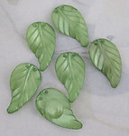 18 pcs. green plastic leaf charms 23x13mm - f3287