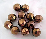 12 pcs. glass w copper coating faceted beads 12mm - f4515