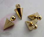 12 pcs. gold tone solid turned brass cone charms 7x6mm - f4531