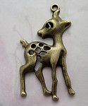 2 pcs. casted antiqued brass tone deer pendants charms 52x33mm f4534