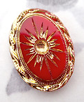 glass red gold intaglio accents cabochon w recess 18x13mm - f3543