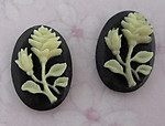 6 pcs. resin flower ivory and black cameo flat back cabochons 14x10mm - f3804