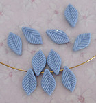 30 pcs. periwinkle blue plastic leaf beads 13x8mm - f3811