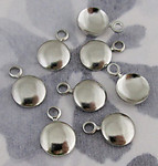 24 pcs. silver tone dapped disk charms 8mm - f3849